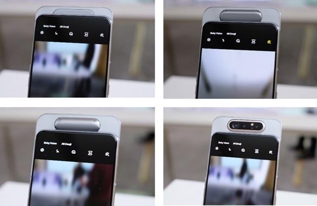 Cụm 3 camera với thiết kế trượt và xoay có thể dùng cho cả camera sau và trước