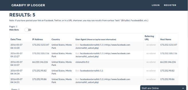 Hệ thống sẽ hiển thị danh sách các địa chỉ IP đã truy cập vào hình ảnh mà bạn đã gửi