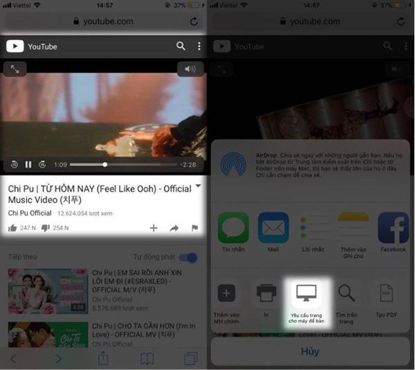 Tìm kiếm và xem video trên trình duyệt mặc định Safari dành cho thiết bị iOS