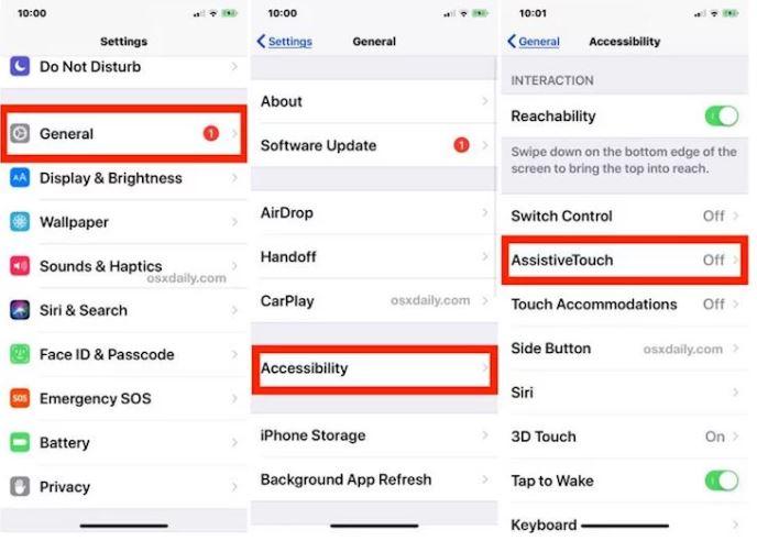 Kích hoạt nút trợ năng trên iPhone X tại mục cài đặt