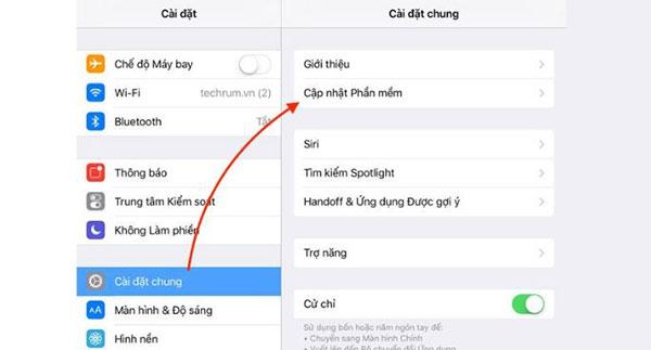 Chọn Cập nhật phần mềm (Update Software) cho phép thiết bị iPhone tự động cập nhật