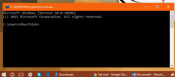 Mở bảng cmd.exe trên hệ điều hành Windows