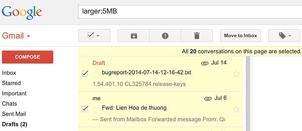 Tìm kiếm những thư chứa file đính kèm kích thước lớn