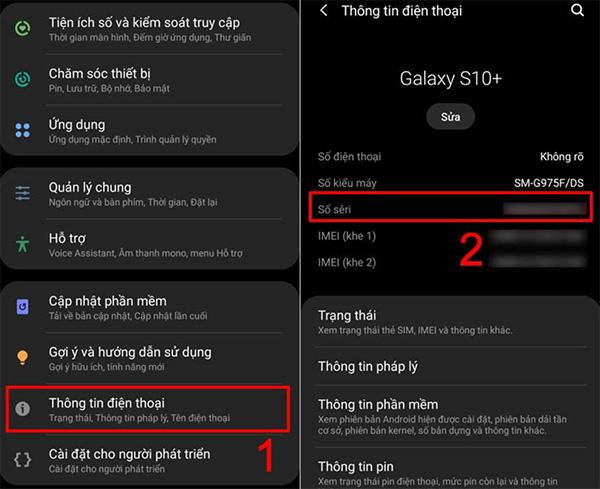 Cách check serial Samsung